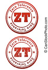Pair of red rubber stamps in grunge and solid style with caption Zero Tolerance and abbreviation ZT