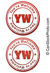 Pair of red rubber stamps in grunge and solid style with caption You're Welcome and abbreviation YW