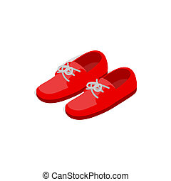 Pair of red shoes icon, isometric 3d style