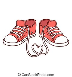 Pair of red sneakers with laces in heart shape, St....