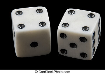 Pair of rolled dice showing double four