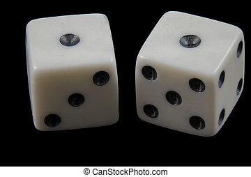 Pair of rolled dice showing double one