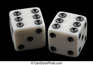 Pair of rolled dice showing double six