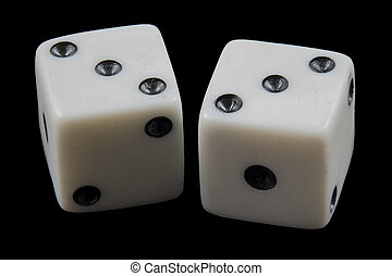 Pair of rolled dice showing double three
