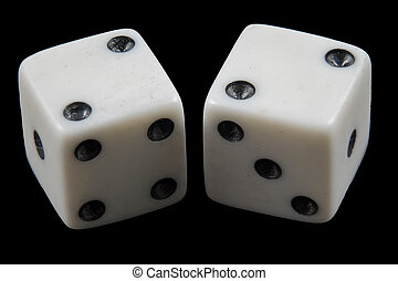 Pair of rolled dice showing double two