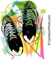 Pair of running shoes laid on abstract background