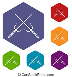 Pair of Sai icons set hexagon isolated  illustration