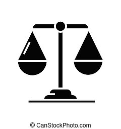 Pair of scales black icon, concept illustration, vector flat symbol, glyph sign.