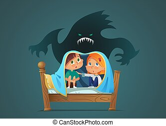 Pair of scared children sitting on bed and hiding from frightening ghost under blanket. Fearful kids and imaginary monster. Cartoon characters isolated on white background. Vector illustration