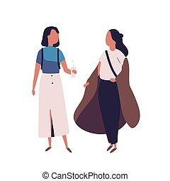 Pair of school teenage girls. Female students, pupils,...