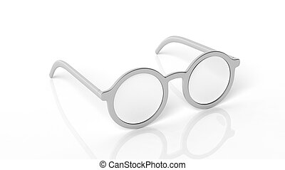 Pair of silver round-lens eyeglasses, isolated on white background.
