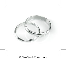 Pair of silver wedding rings, illustration, isolated on ...