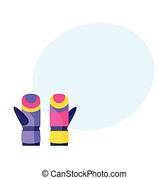 Pair of skiing, snowboarding gloves, winter sport clothing, flat illustration