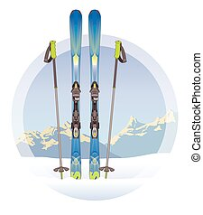pair of skis and ski-poles on white backgournd