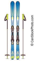 pair of skis and ski poles