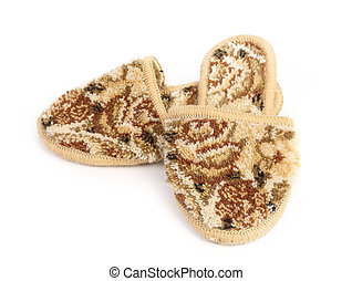 Pair of slippers on a white background
