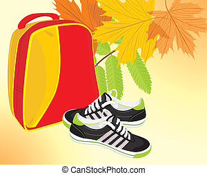 Pair of sneakers and backpack on the autumn background....