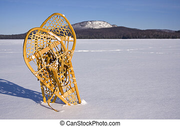 Pair of Snowshoes in the Snow