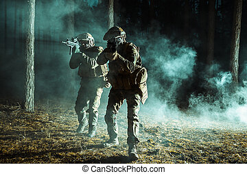 Pair of soldiers in the forest