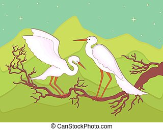 Pair of storks on a branch in early spring night against the...