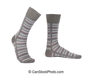 Pair of striped socks isolated on a white background