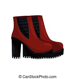 Pair of stylish female boots with high heels, side view. Bright red women shoes. Trendy footwear. Flat vector design