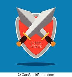 Pair of swords. Cyber attack. Vector illustration design