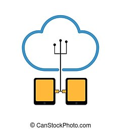 Pair of tablets connected to cloud technology