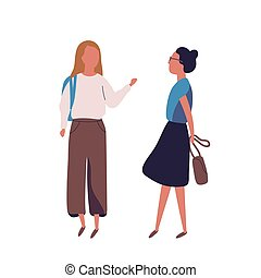 Pair of teenage girls isolated on white background. Female...