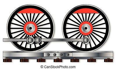 Pair Of Train Wheels - A pair of connected steam train...