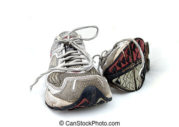 Pair of trainers on white background