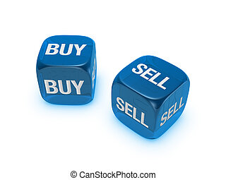 pair of translucent blue dice with buy, sell sign isolated on white background