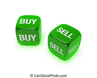 pair of translucent green dice with buy, sell sign