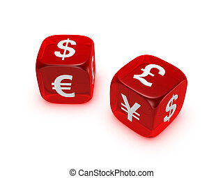 pair of translucent red dice with currency sign