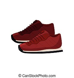 Pair of trendy red sneakers, side view. Soft shoes for sports. Casual footwear with rubber sole. Flat vector design