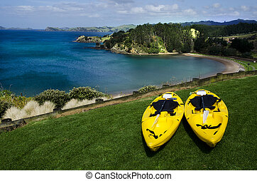 Pair of twin yellow kayaks