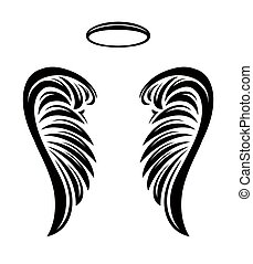 Pair of vector angel wings with nimbus