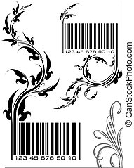 Pair of vector illustrations - bar codes with floral branch. Can use as conceptual ecological design.