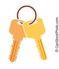 Pair of vector keys with ring. Colorful flat icon for your design.