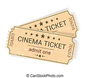 pair of vintage yellowish old cinema tickets on white