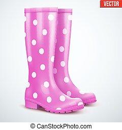 Pair of violet rain boots - Pair of mottled speckled violet...