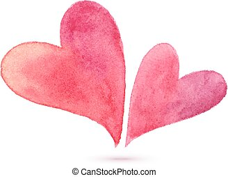 Pair of watercolor painted hearts, elements for your design