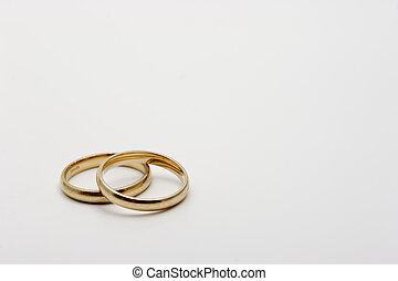 pair of Wedding rings on white background