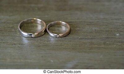 Pair of wedding rings with diamonds