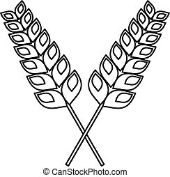 Pair of wheat icon, outline style