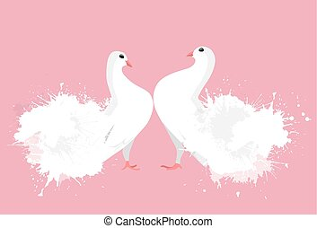 Pair of white enamored doves with watercolor sprays