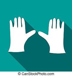 Pair of white gloves icon, flat style