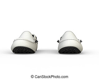 Pair of white loafers with black stitching - front view