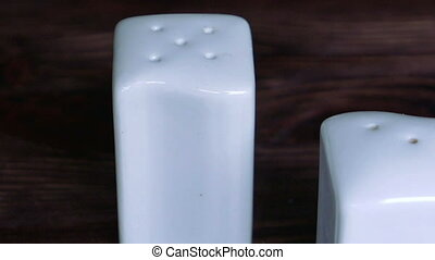Pair of white salt and pepper pots - Pair of white...