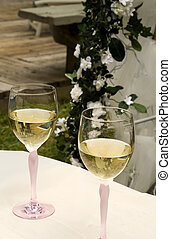 Pair of Wine Glasses with White Wine